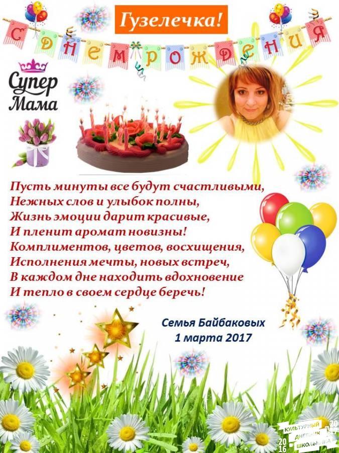 Красивое поздравление с днем рождения гузель