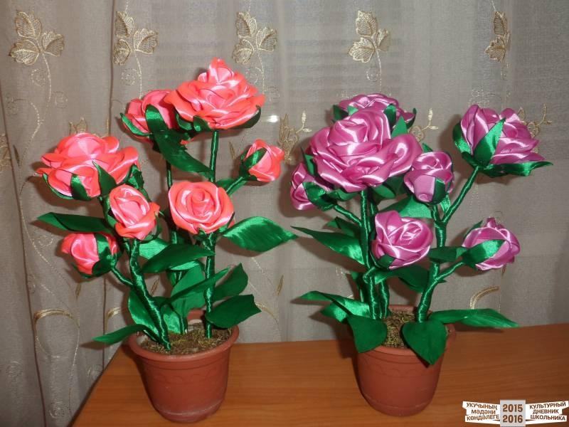 Цветочное дерево с розами из атласных лент. Мастер класс с пошаговыми фото